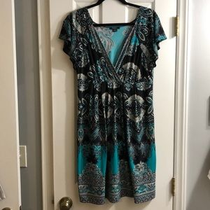 Boho print empire waist dress XL